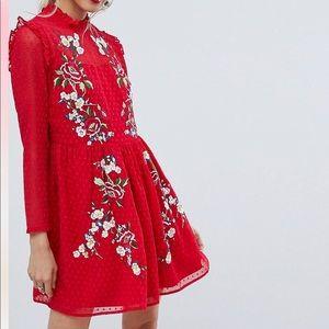 ASOS Pretty Embroidered Mini Dress